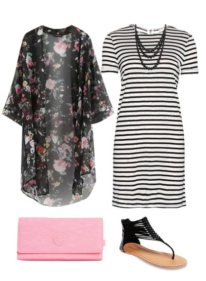 Outfits for women -- Cute Outfit Ideas of the Week featuring the kimono. Pair a floral kimono with a striped dress for a fun look.