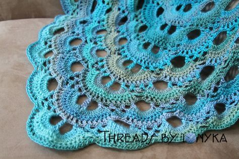 IMG_6138 Scalloped triangle shawl and link to Ravelry pattern. Tidal Redheart yarn used.