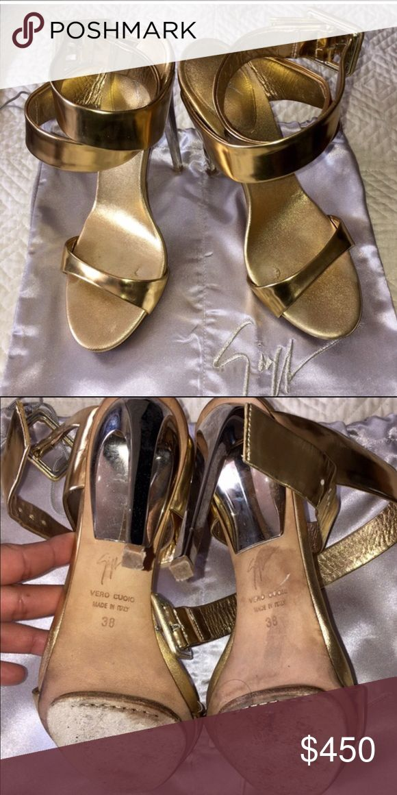 """Giuseppe heels Give fancy looks ! Eye catching finish with Giuseppe Zanotti""""s metallic leather sandals . I would love to trade with a Louis Vuitton Neverfull, or Burberry coat! Giuseppe Zanotti Shoes Heels"""