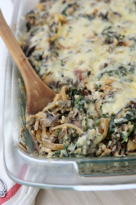 Mushroom Kale Wild Rice Casserole