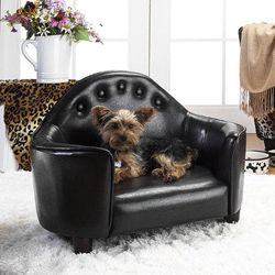 @Overstock.com.com.com.com - Enchanted Home Pet Black Headboard Pet Bed - Give your pet a stylish place to rest with one of these button-tufted pet beds.