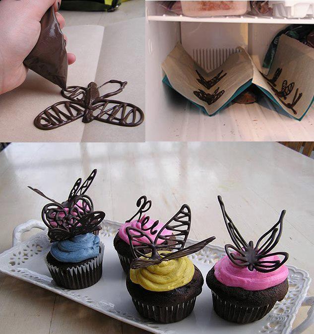 Dicas pra Mamãe: Borboletas de Chocolate para topo de Cupcake