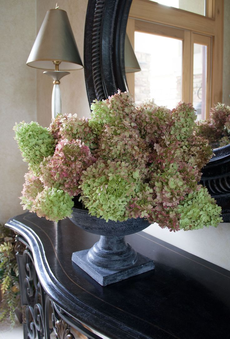 Create a dried hydrangea arrangement
