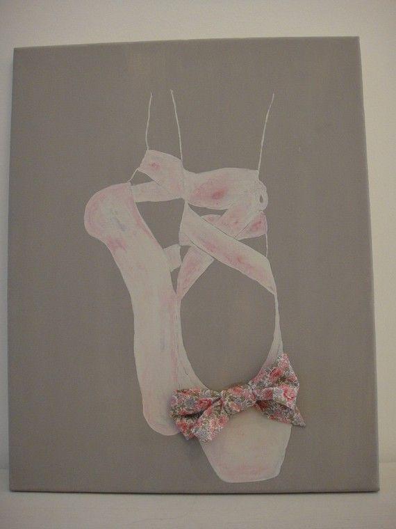 Tableau ballerines et Liberty sur toile de coton pour petite fille