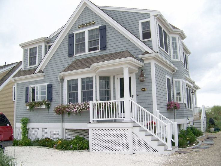 East Sandwich House Rental: New Oceanfront Beach House On Private Beach ~ Fireplace, Wifi, A/c | HomeAway - exterior colors, shingle siding, like railings, stairs, lattice, landscaping, walkway, 6 over 6 windows plus casing