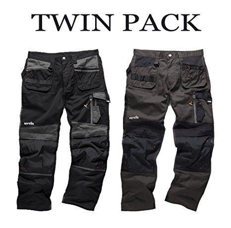 Mens Scruffs 3D Trade Trouser Work Cordura Holster Pants Knee Pad, TWIN PACK