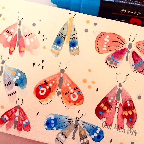 Some moths in #moleskine number 6 for day 71/365 - catch it on periscope…