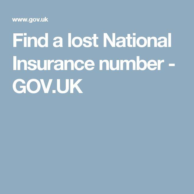 Find a lost National Insurance number  - GOV.UK