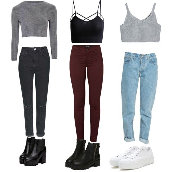 Outfits by valth on Polyvore featuring polyvore, fashion, style, Glamorous, J Brand, Topshop and Converse