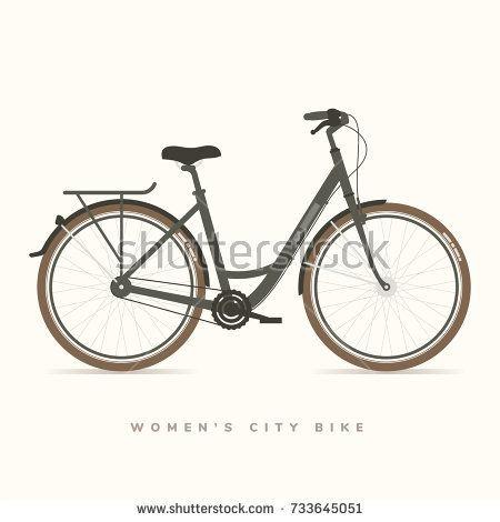 Women City Bike Black, vector illustration