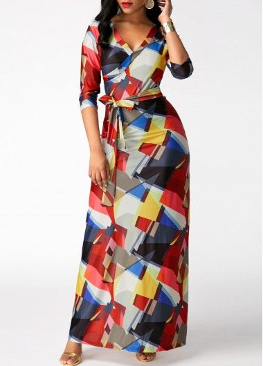 Printed V Neck High Waist Belted Maxi Dress, modest, classy, dressy, faster shipping and free shipping worldwide at rosewe.com, shop now.