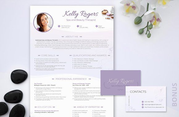 Resume PSD: Spa & Beauty Therapist  @creativework247