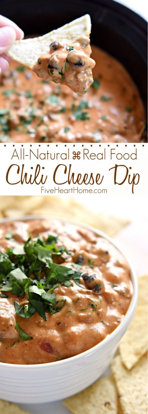 All-Natural Chili Cheese Dip ~ this decadent, creamy, real food version of Chili's Skillet Queso features homemade chili, cheddar cheese sauce, and no processed ingredients!   FiveHeartHome.com