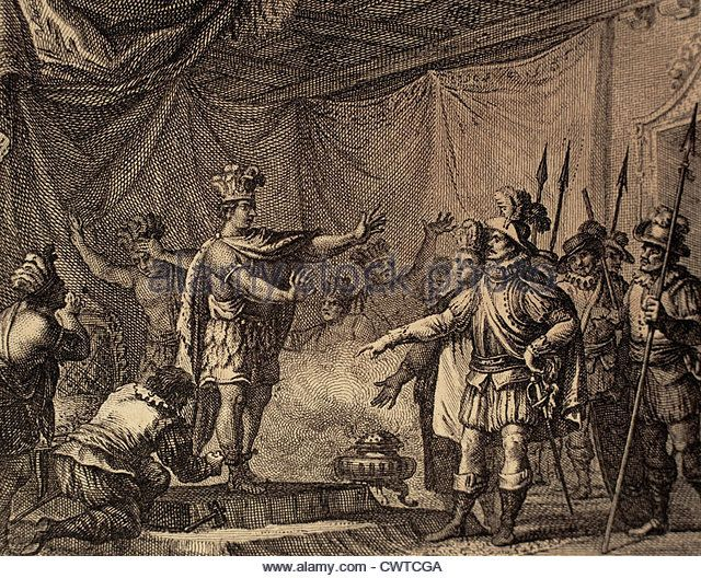 To punish the betrayal of Aztec hero Cuauhpopoca, Cortes took prisoner Moctezuma II. Engraving, 1807. - Stock Image