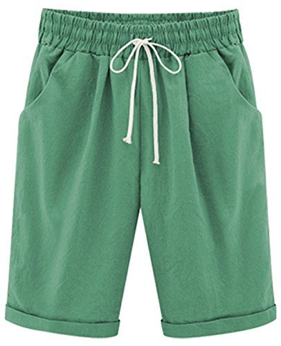 daa11ad168 HOW'ON Women's Casual Elastic Waist Knee-Length Curling Bermuda Shorts with  Drawstring