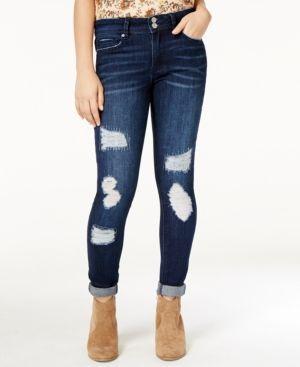 Indigo Rein Juniors' Ripped Cuffed Skinny Jeans - Blue 11