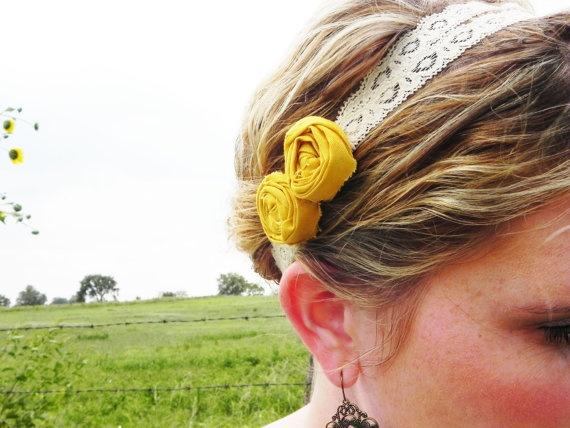 Yellow lace rosette headband