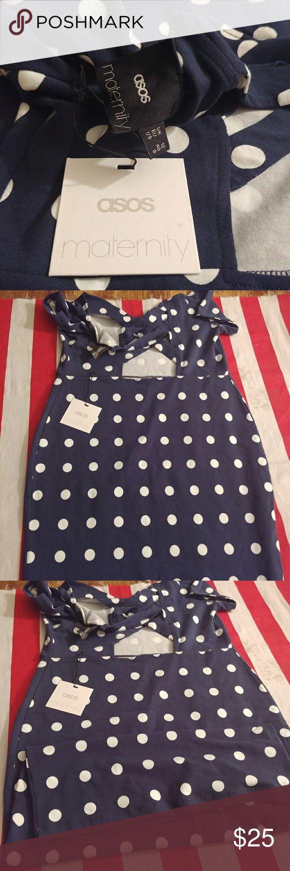 Asos maternity dress bodycon cut out back sz 8 Navy Blue polka dot maternity dress ASOS Maternity Dresses Midi