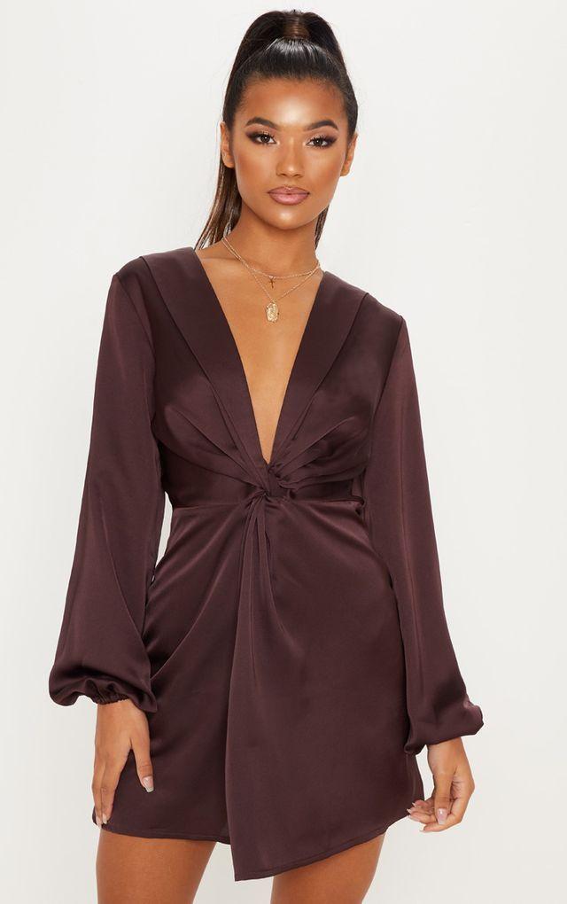 51ecf10d0bb0 Chocolate Brown Satin Knot Detail Plunge Shift Dress