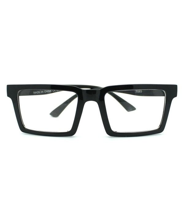 26c9584a8eae Square Rectangular Frame Clear Lens Eye Glasses Black - CL11C9D9HN9 ...