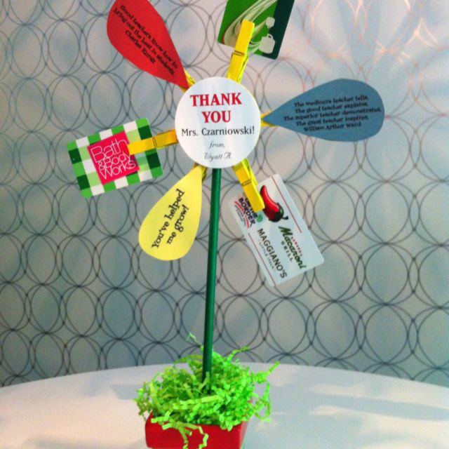 """End of the school year teacher gift-a potted gift card """"flower""""!"""