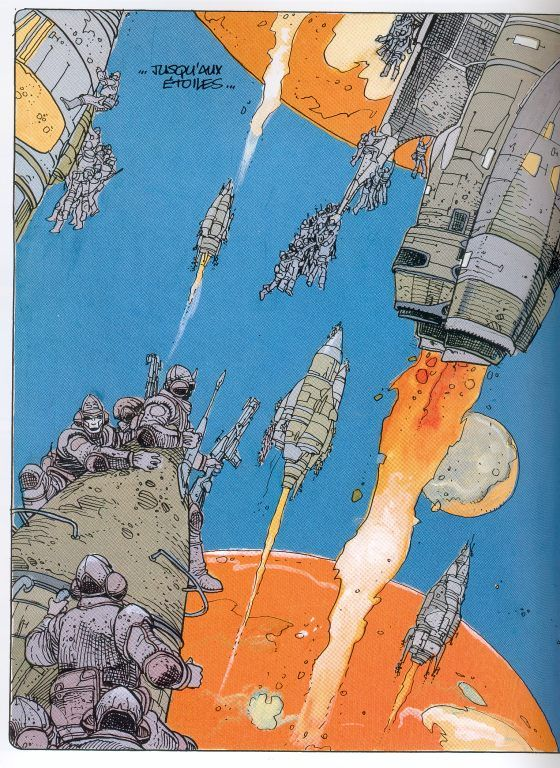 """Great scene by Enki Bilal, space warriors clinging to rockets firing into space. The caption just says, """"To the stars."""" Would love to know where this is from."""