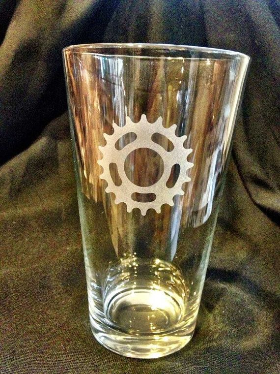 Single Speed Bicycle Cog Pint Glass by VeloGioielli on Etsy