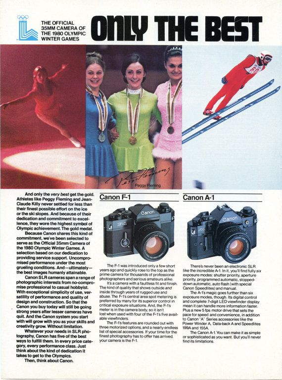 Vintage Canon Camera Ad Olympics Peggy Flemming 1980 by 833vintage, $8.00