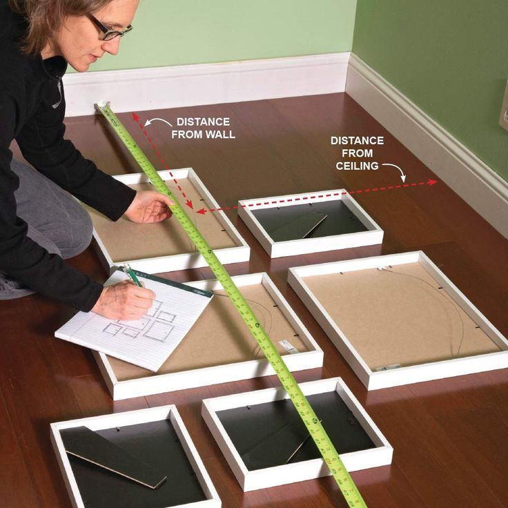 When you're hanging a group of pictures, it can be hard to visualize exactly where everything should go. Try this next time: Lay them all out on the floor and get them arranged just how you like them. Then flip them over and make a little diagram of your grouping. Measure the distance of each picture's hanger from the adjacent walls, and jot it down on your diagram. Transfer those hanger locations to the wall and you'll have a perfect grouping every time. Plus: 12 Simple Life Hacks for…