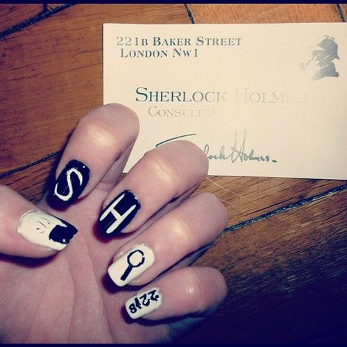 Sherlock Nail Art, i actually have that card behind the hand