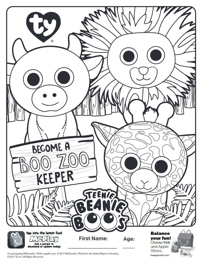 Here is the Happy Meal Teenie Beanie Boos Coloring Page