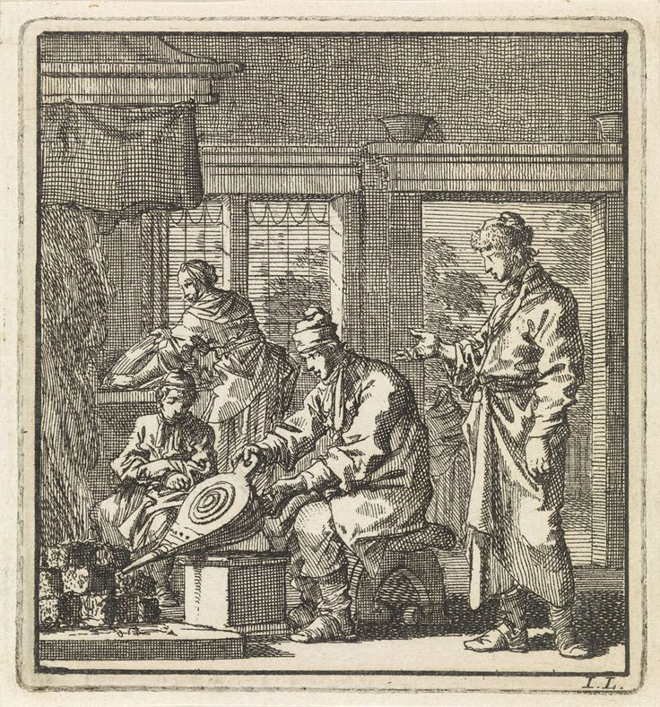 Jan Luyken   Man stookt het vuur op met een blaasbalg, Jan Luyken, wed. Pieter Arentsz & Cornelis van der Sys (II), 1711  