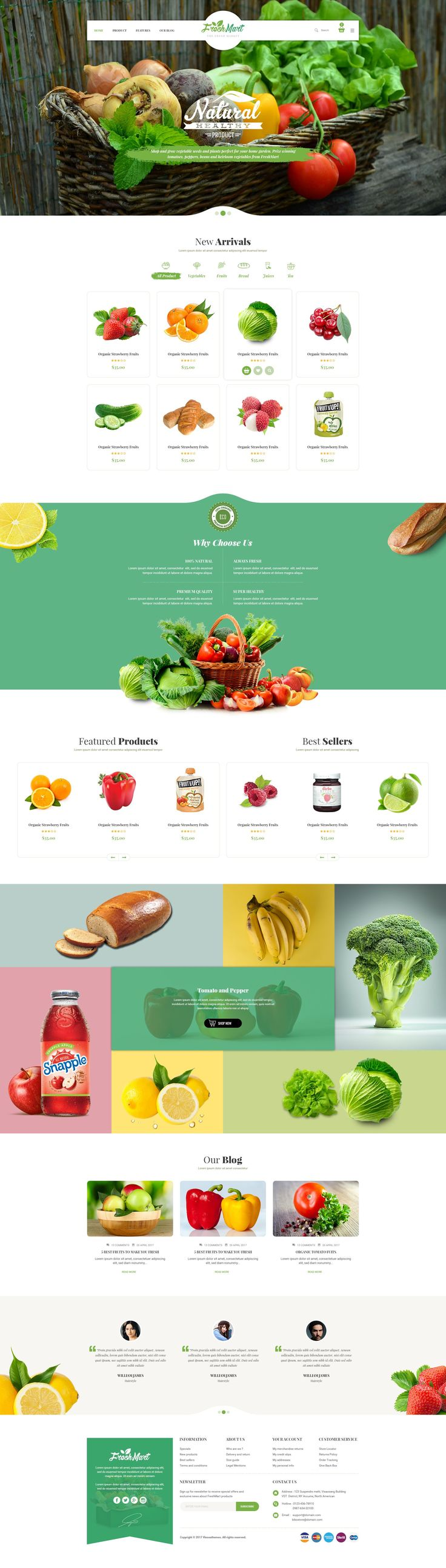 FreshMart - Organic Food PSD Template #organic food #shop #shopping • Download ➝ https://themeforest.net/item/freshmart-organic-food-psd-template/20095556?ref=pxcr #OrganicFoodWebsite