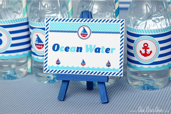 Labels with Navy seal on bottled water (Nautical Birthday Party - Food Labels NonPersonalized Printable Design by leelaaloo.com)