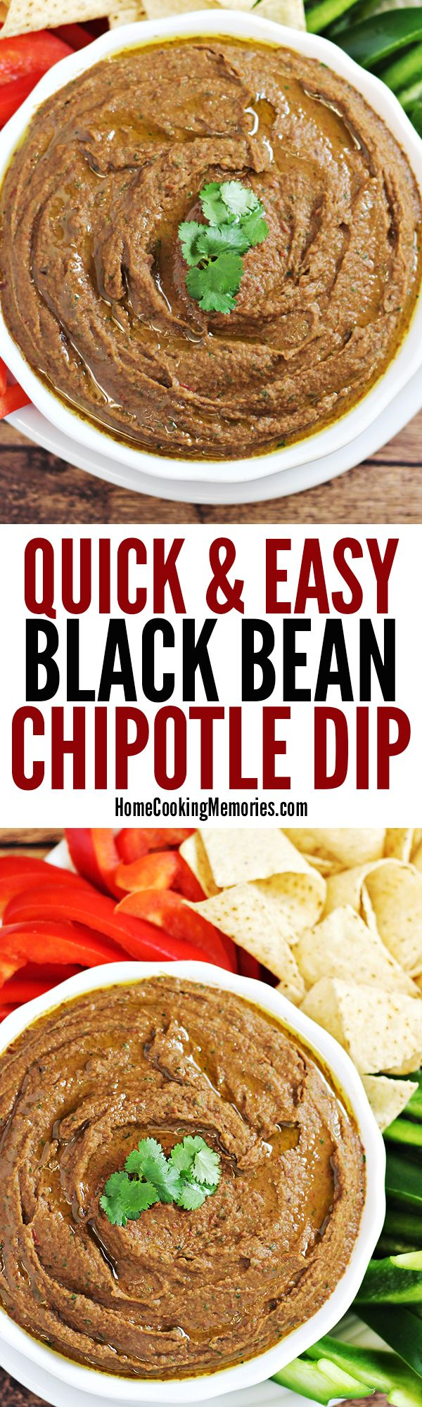 This Easy Black Bean Chipotle Dip recipe is a delicious & spicy party dip that you'll be able to make in 5 minutes or less. You only need 7 ingredients for this healthy dip: black beans, canned chipotle peppers, cilantro, lime juice, garlic, olive oil and salt. Gluten free & vegan too!