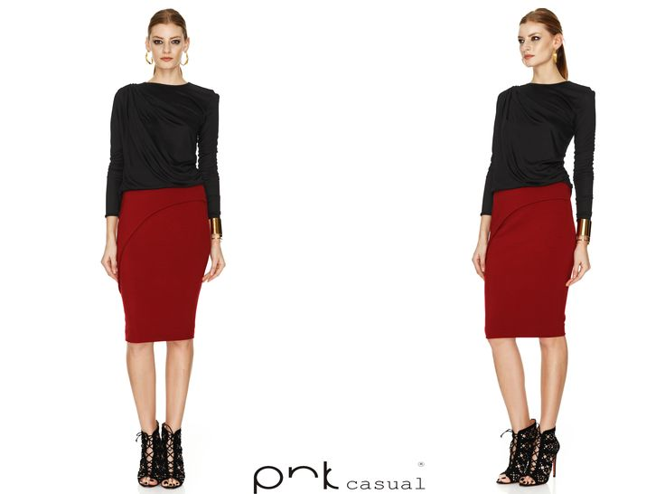 Red skirt outfit idea by PNK casual. #pnkcasual #cool #fashion #sale #happiness