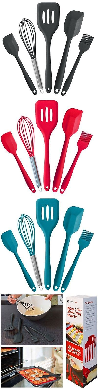 Running Belts 179802: 5 Pcs Premium Silicone Kitchen Utensil Set Hygienic Solid Coating Bpa Free Tools BUY IT NOW ONLY: $33.99