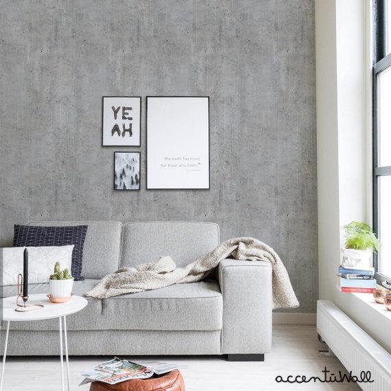 Cement Concrete Peel Stick Fabric Wallpaper Repositionable Etsy In 2020 Concrete Wallpaper Fabric Wallpaper Wallpaper Panels
