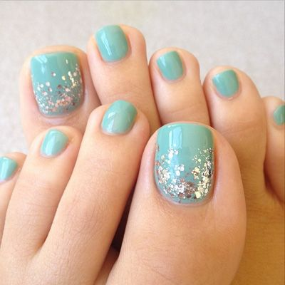 Pair your favorite mint polish with some strategically placed glitter. Mix and match with different shades and even gold or rainbow sparkles. See more at Nails by Nic Tchelly »  - GoodHousekeeping.com