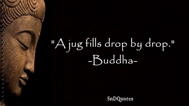 FAMOUS BUDDHA QUOTES : A jug fills drop by drop. Buddha