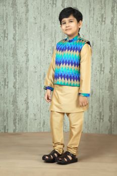 Polyester kurta churidar with printed jacket