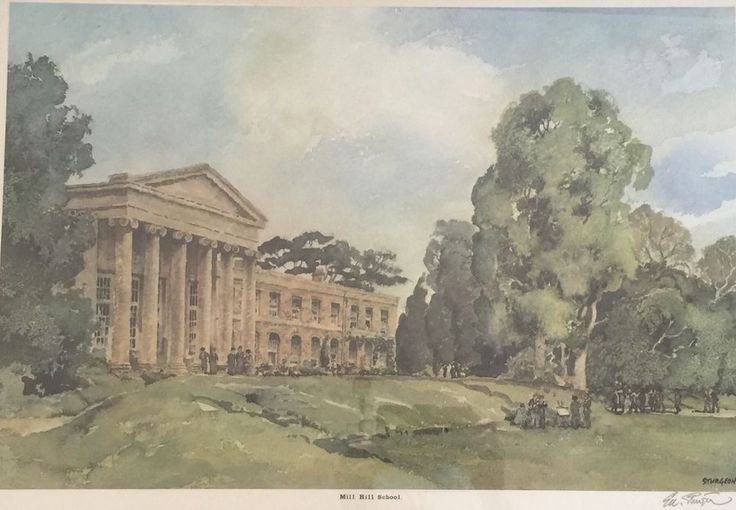 Large Framed Print Of Mill Hill School Signed By The Artist Eric Sturgeon #ericsturgeon #art #artforsale #millhill #millhillschool #antiques #antique #antiqueshop #artforsale #forsale #giftideas