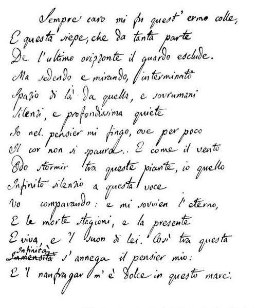 Giacomo Leopardi, L'infinito , Secondo manoscritto autografo...la mia poesia preferita