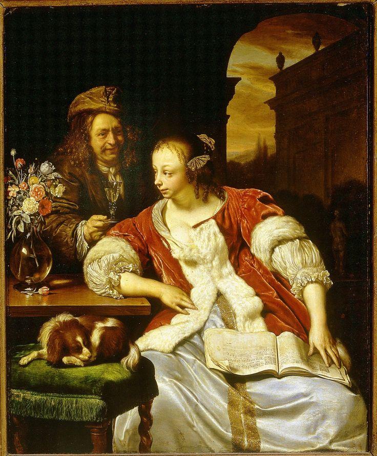 Le Chant interrompu. Frans Van Mieris dit Mieris le Vieux. 1671. XVIIe siècle. Huile sur bois. H. 26 cm ; l. 21,5 cm