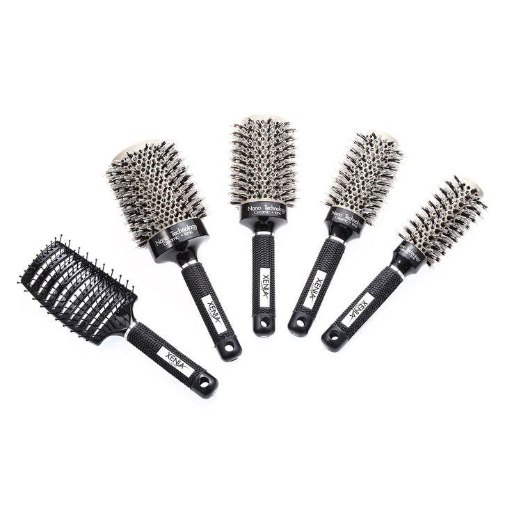 Xenia Paris Heat Activated Ceramic 5-piece Professional Ionic Hair Brush Bundle (5-piece bundle), Black