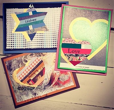 Greeting cards made from recycled materials - scrap papers, paint samples, magazine cutouts, old books, recycled food lids.