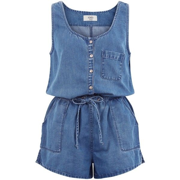 New Look Blue Single Pocket Button Front Denim Playsuit (£20) ❤ liked on Polyvore featuring jumpsuits, rompers, romper, playsuit, dresses, overalls, blue, denim jumpsuit, denim rompers and sleeveless rompers