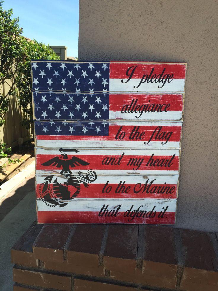 Marine wood sign, rustic Marine sign, patriotic marine sign, Marines gift, gift for marine, marine veteran gift, USA marine sign, flag sign…