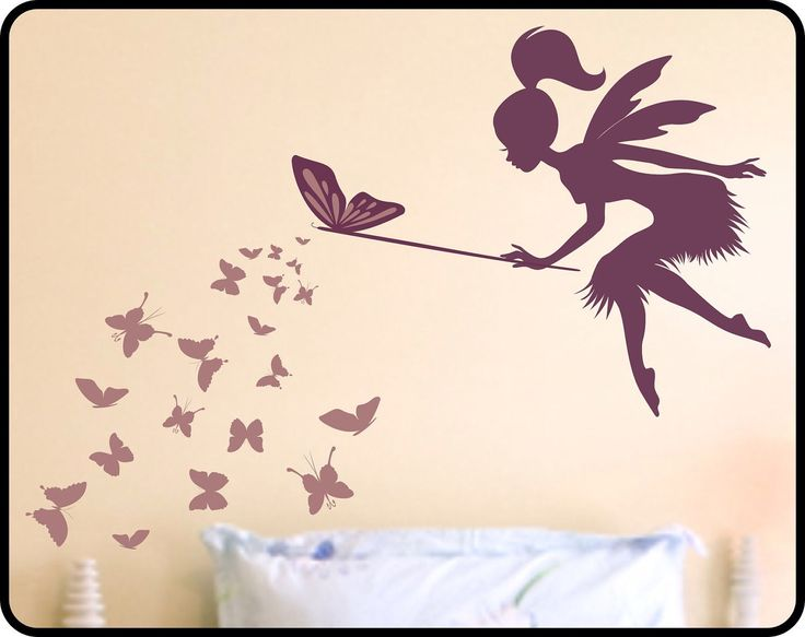 Butterfly Fairy with butterfly Wand Vinyl Wall Decal - Nursery wall decor Fairy wall decal by WallCrafters on Etsy https://www.etsy.com/listing/65729570/butterfly-fairy-with-butterfly-wand