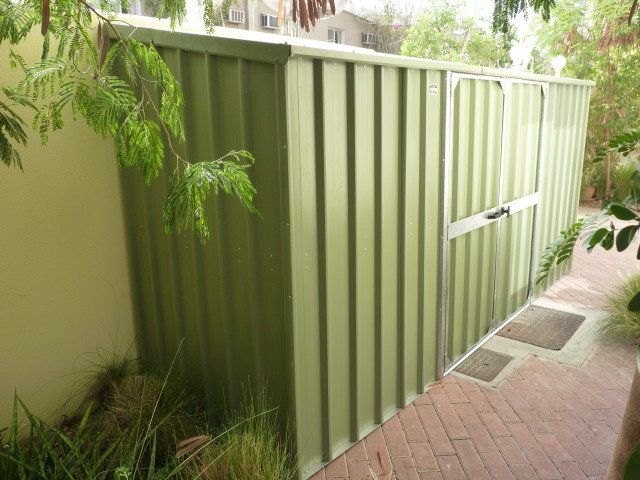 Our largest standard sized Villa Shed. 4.5m x 0.82m, in PALE EUCALYPT® COLORBOND® steel.